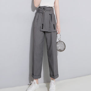 [EAM] 2020 Spring High Waist Lace Up Black Slim Temperament Tide Trend Fashion New Women's Wild Casual Wide Leg Pants LA462