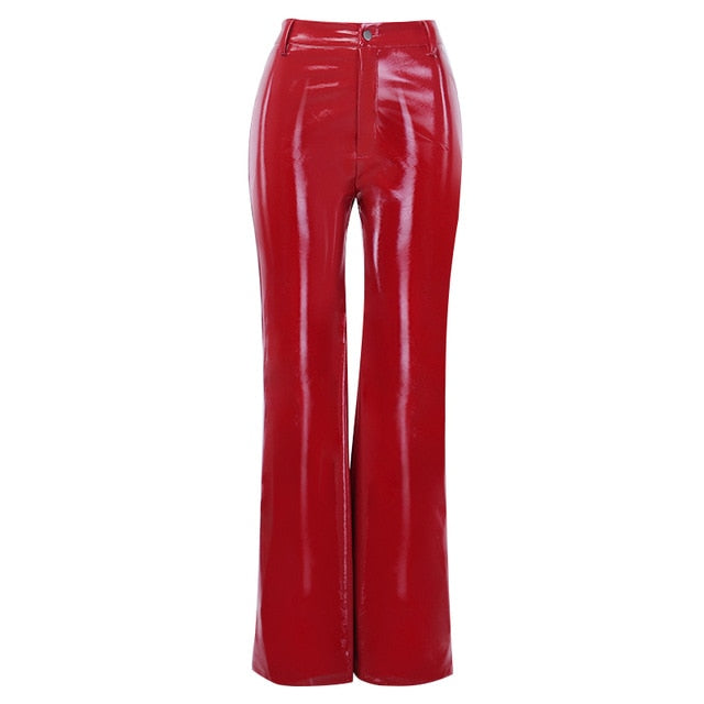 InstaHot Faux Leather Wide Leg Pants High Street Ladies Loose Flare Trousers Women Leather Casual Retro Pants Capris Red Black