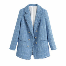 Load image into Gallery viewer, ZXQJ tweed women elegant blue blazers 2020 fashion ladies vintage loose blazer jackets casual female streetwear suits girls chic