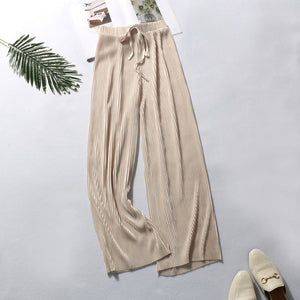 DASSWEI Summer Wide Leg Pants For Women Casual Elastic High Waist 2020 New Fashion Loose Long Pants Pleated Pant Trousers Femme