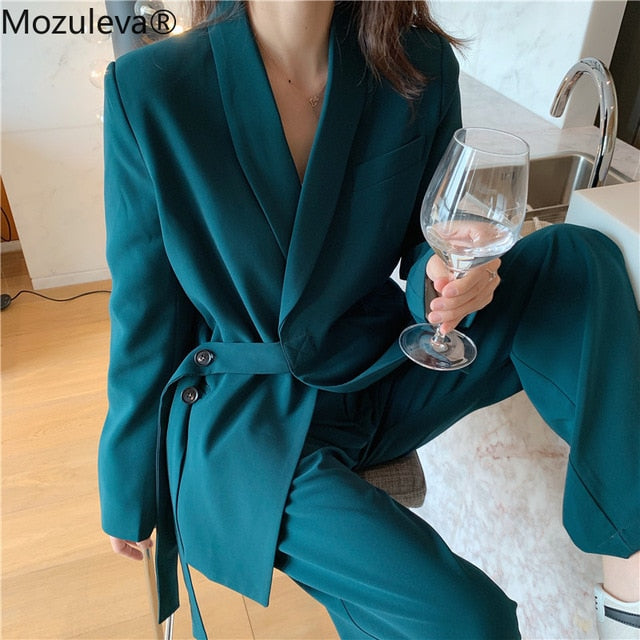 Mozuleva Vintage 2020 Two Pieces Set Women Blazer Set Lace Up Notched Blazer & Loose Pant Women Pant Suits Female Trouser Suit