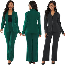 Load image into Gallery viewer, women's suit office two piece set long sleeve suit pants 2 piece set female winter two pieces sets office female