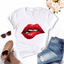 Load image into Gallery viewer, Fashion Women's Casual Sequins Red Lip T-Shirt Short Sleeve T-Shirts 2020 Vintage Creativity zipper Lips T-Shirt,drop ship