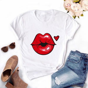 Fashion Women's Casual Sequins Red Lip T-Shirt Short Sleeve T-Shirts 2020 Vintage Creativity zipper Lips T-Shirt,drop ship
