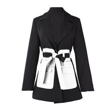 Load image into Gallery viewer, [EAM]  Women Black Contrast Color Pocket Blazer New Lapel Long Sleeve Loose Fit  Jacket Fashion Tide Spring Autumn 2020 1S39401