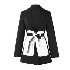 [EAM]  Women Black Contrast Color Pocket Blazer New Lapel Long Sleeve Loose Fit  Jacket Fashion Tide Spring Autumn 2020 1S39401