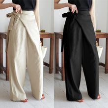 Load image into Gallery viewer, Women's Vintage Linen Cotton Trousers Celmia Long Pants Casual High Waist Office Solid Wide-leg Pantalon Femme Plus Size 5XL 7