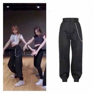 2020 Blackpink lisa cargo pants for women cool street wear, slim, high-waisted jazz dance pants female Casual ankle banded pants