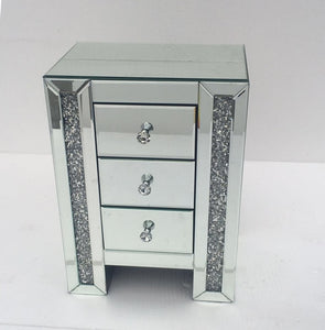 Panana Mirrored Bedside Cabinet/Bedside Table/Chest of 3 Drawers Bedroom Nightstand Table de chevet Fast delivery