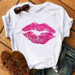 Woman Tshirts Tops Red Mouth Lip Letter Love Print T-Shirt O-Neck Top Tee Short Sleeve Harajuku T-Shirt Ropa Mujer Women T-Shirt