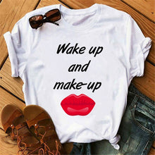 Load image into Gallery viewer, Woman Tshirts Tops Red Mouth Lip Letter Love Print T-Shirt O-Neck Top Tee Short Sleeve Harajuku T-Shirt Ropa Mujer Women T-Shirt