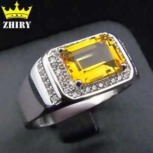Men ring Solid 925 sterling silver Natural citrine gem Genuine stone rings Jewelry Men and women General