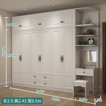 Load image into Gallery viewer, Wardrobe and Top Cabinet Simple Modern Economical Plate-Type White Cabinet Wooden 6-Door Wardrobe furniture
