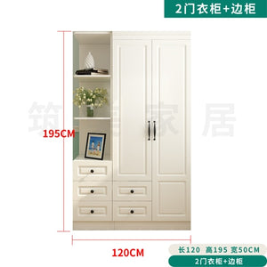 Wardrobe and Top Cabinet Simple Modern Economical Plate-Type White Cabinet Wooden 6-Door Wardrobe furniture