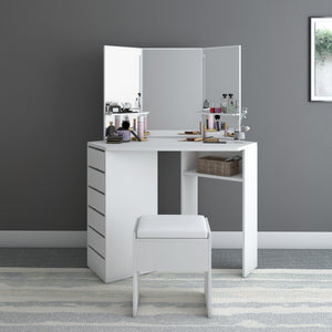 Panana Modern Corner Dressing Table Makeup Curved Mirror with Stool Shape Home Working Study Desk Fast delivery