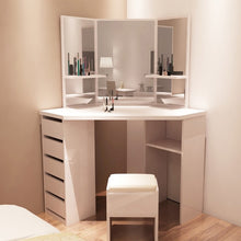 Load image into Gallery viewer, Panana Modern Corner Dressing Table Makeup Curved Mirror with Stool Shape Home Working Study Desk Fast delivery