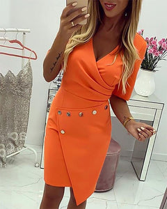 Daily  OWLPRINCESS 2020 Summer Solid Color New Metal Buckle Irregular Dress Large Size Dress