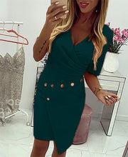 Load image into Gallery viewer, Daily  OWLPRINCESS 2020 Summer Solid Color New Metal Buckle Irregular Dress Large Size Dress