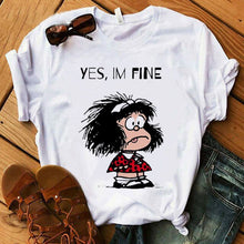 Load image into Gallery viewer, Female T-shirt cartoon PAZ Mafalda or QUIERO Cafe printed female graphic T-shirt Harajuku funny T-shirt female tops Tee