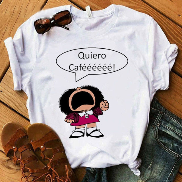 Female T-shirt cartoon PAZ Mafalda or QUIERO Cafe printed female graphic T-shirt Harajuku funny T-shirt female tops Tee