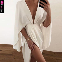 Load image into Gallery viewer, Women Plunge Ruched Detail Slit Cape Sleeve Dress Elegant Party Dresses