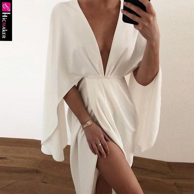 Women Plunge Ruched Detail Slit Cape Sleeve Dress Elegant Party Dresses