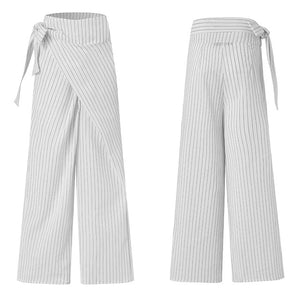 Women's Vintage Linen Cotton Trousers Celmia Long Pants Casual High Waist Office Solid Wide-leg Pantalon Femme Plus Size 5XL 7
