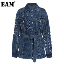 Load image into Gallery viewer, [EAM] Loose Fit Blue Hollow Out Big Size Denim Jacket New Lapel Long Sleeve Women Coat Fashion Tide Spring Autumn 2020 1Y720