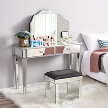 Load image into Gallery viewer, Panana Hot Sale Mirrored Glass Dressing Table 2 Drawers 3 folding Mirrors Stool Or table stool Bedroom Furniture Dresser