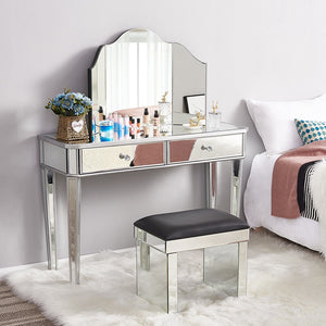 Panana Hot Sale Mirrored Glass Dressing Table 2 Drawers 3 folding Mirrors Stool Or table stool Bedroom Furniture Dresser