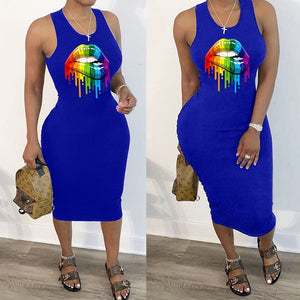 Sexy Lips Print Cut Out Ruched Bodycon Tank Dress Women Sleeveless Sheath Pleated Casual Midi Summer Dress Streetwear