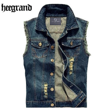 Load image into Gallery viewer, HEE GRAND Men Jeans Vest Punk Style 2017 Spring New Fashion Sleeveless Denim Jackets  All-match Style Hip Hop Vest  MWB135