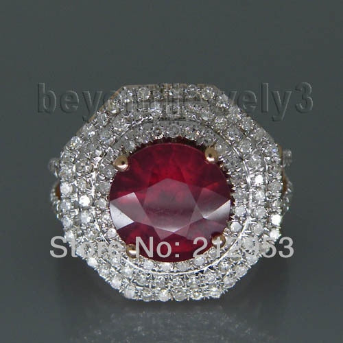 Round 9mm 14kt Rose Gold Natural Red Ruby Ring , Vintage Ruby Engagement Ring Genuine Ruby Jewelry 2T018