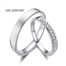 Load image into Gallery viewer, ANI 18K White Gold (AU750) Wedding Ring 0.11 CT Certified I/SI1 Natural Diamond Jewelry Romantic Couple Ring for Lovers Proposal