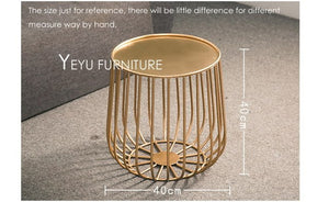 Minimalist Modern Design Pumpkin Black and Gold Metal Round Tea Table Living Room Side Coffee Table end table Size customize 1PC