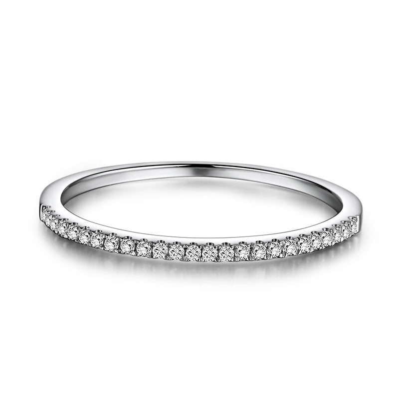 Half Eternity Ring Solid 14k White Gold 1/10CT Natural Diamond Women Engagement Wedding Band Trendy Fine Jewelry Gift