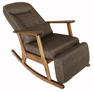 Garden Recliner For Elderly People Japanese Style ArmChair with Footstool Armrest Modern Indoor Wooden Rocking Chair Leg Wood