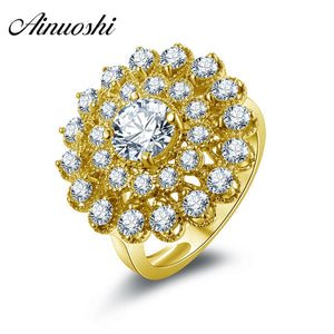 AINUOSHI 10k Solid Yellow Gold Women Engagement Halo Ring Luxury Flower Shape Design Band Bijoux 1 Carat Round Cut Wedding Rings