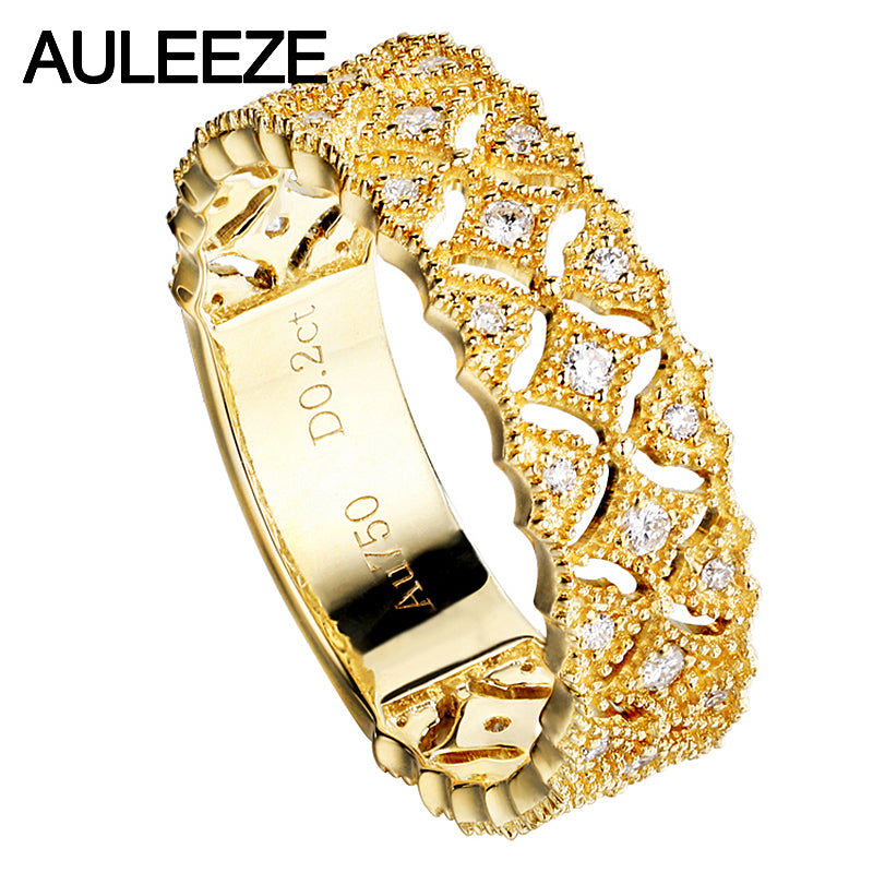 AULEEZE Genuine Real 18k Yellow Gold Bands 0.20cttw Natural Diamond Wedding Rings For Women Star Design Fine Jewelry Gifts