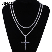 Load image into Gallery viewer, JINAO Cross Pendant Necklace Micro Pave CZ Stones Egyptian Style Prayer Hip Hop Pendants Necklace Men's Jewelry