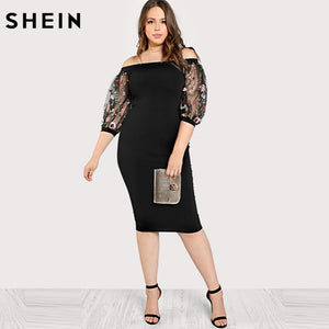 Black Plus Size Party Summer Dress Off the Shoulder Bardot Pencil Dress Embroidered Mesh Sleeve Large Sizes Sexy Dress
