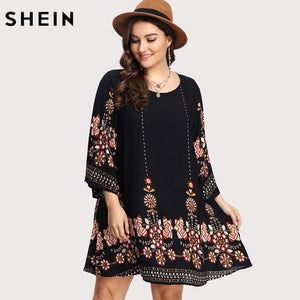Black Plus Size Floral Embroidery Tunic Dress Spring Summer Elegant Large Sizes Tribal Flower Print Vocation Dress