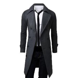 2018 Trench Coat Men Lapel Neck Long Sleeve Wool Winter Autumn Men Casual Medium Long Jacket Business Formal Smart Suit Coats