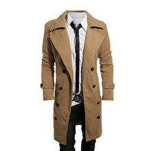 Load image into Gallery viewer, 2018 Trench Coat Men Lapel Neck Long Sleeve Wool Winter Autumn Men Casual Medium Long Jacket Business Formal Smart Suit Coats