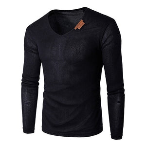 Oversize T-Shirt Men 2018 Spring Autumn Men Solid V Neck Long Sleeve Top Tees T Shirt Slim Male Pullover Plus Size XL-6XL Gray