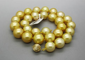 Jewelry top natural 12-14mm round south seas gold pearl necklace