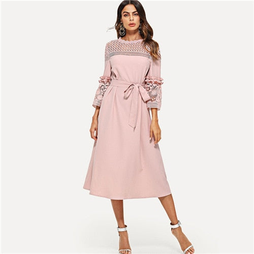 Lace Yoke and Sleeve Pearl Beading Belted Dress Pink 3/4 Sleeve Ruffle Straight Tunic Dresses Women Autumn Elegant Dress