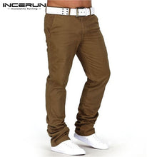Load image into Gallery viewer, INCERUN Men Casual Pants Solid Cotton Fitness Straight Trousers Fashion Business Long Pants Jeans Men Pantalon Hombre Plus Size