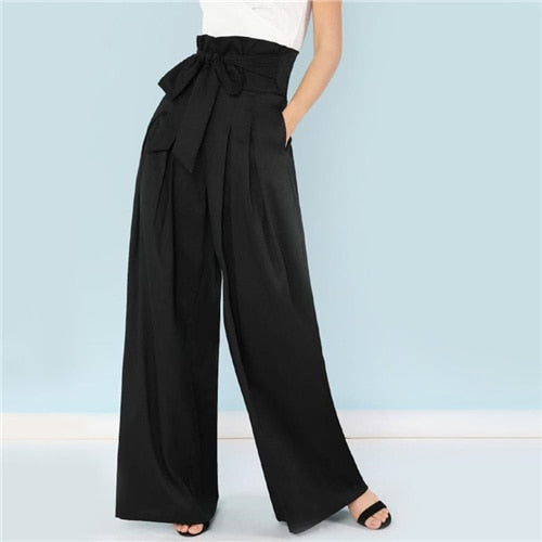 Self Belted Box Pleated Palazzo Pants Women Elegant Loose Long Pants 2018 Fall Ginger High Waist Wide Leg Pants