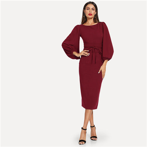 Burgundy Elegant Office Lady Tie Waist Long Lantern Sleeve Natural Waist Solid Dress Autumn Women Streetwear Dresses